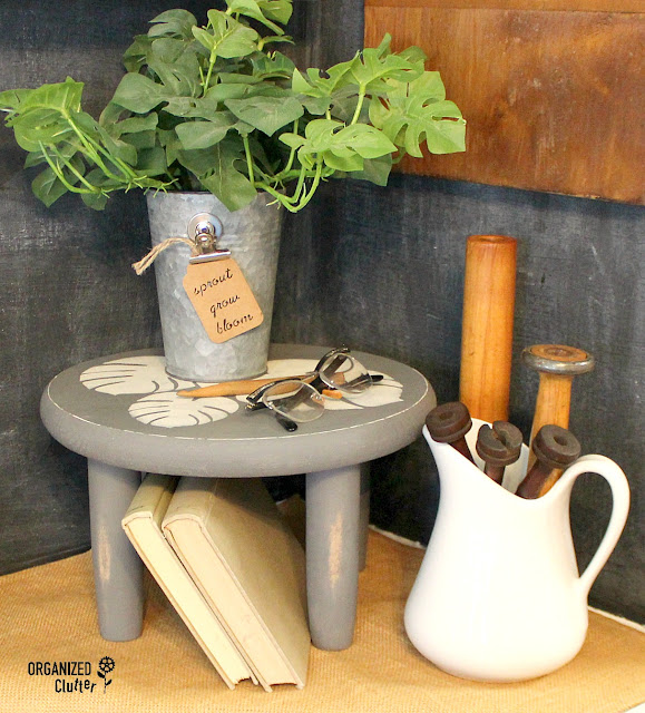 """Thrifted"" Wood Round & Dollar Tree Rolling Pin To Stenciled Riser/Stool #vignette #stencil #dixiebellepaint #dollartree #upcycle #repurpose"