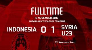 Timnas Indonesia Senior Kalah 0-1 dari Suriah U-23