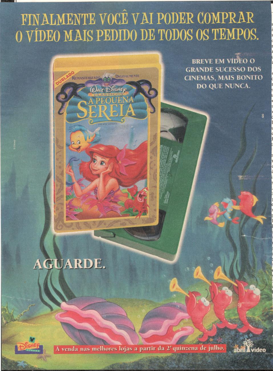 Propaganda da Disney em meados dos anos 90 para promover a versão remasterizada do filme 'A Pequena Sereia'