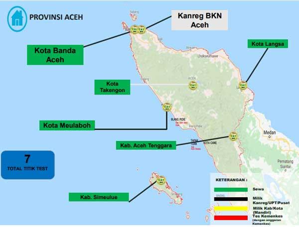 Lokasi Tes Cat BKN Propinsi Aceh