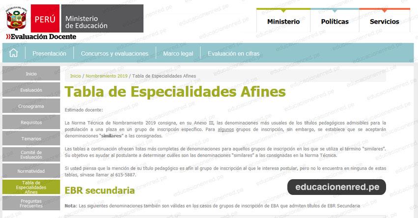 NOMBRAMIENTO DOCENTE 2019: Tabla de Especialidades Afines en los Títulos Pedagógicos - www.minedu.gob.pe