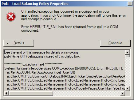 Citrix COMException (0x80004005) Error HRESULT E_FAIL