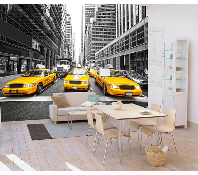 New York Wall Mural Manhattan Wallpaper Street View Taxi Cab