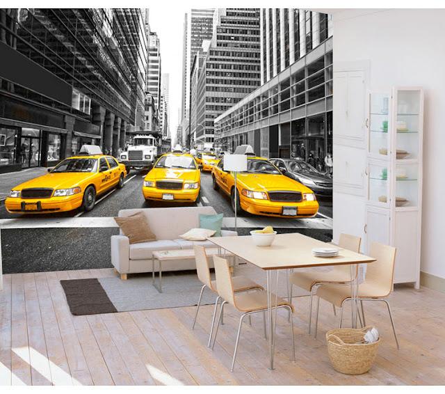 New York Wall Mural Manhattan Wallpaper Street View Taxi Cab