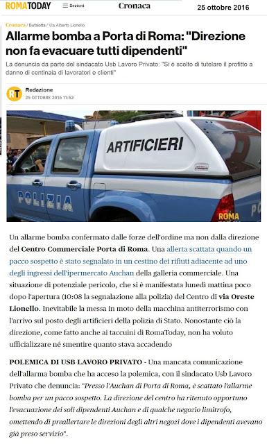Tg roma talenti allarme bomba a porta di roma direzione - Allarme bomba porta di roma ...