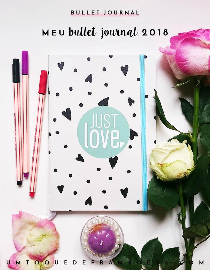 Caderninho estilo Moleskine com capa dura, elástico e folhas sem pauta que escolhi para usar como Buller Journal em 2018