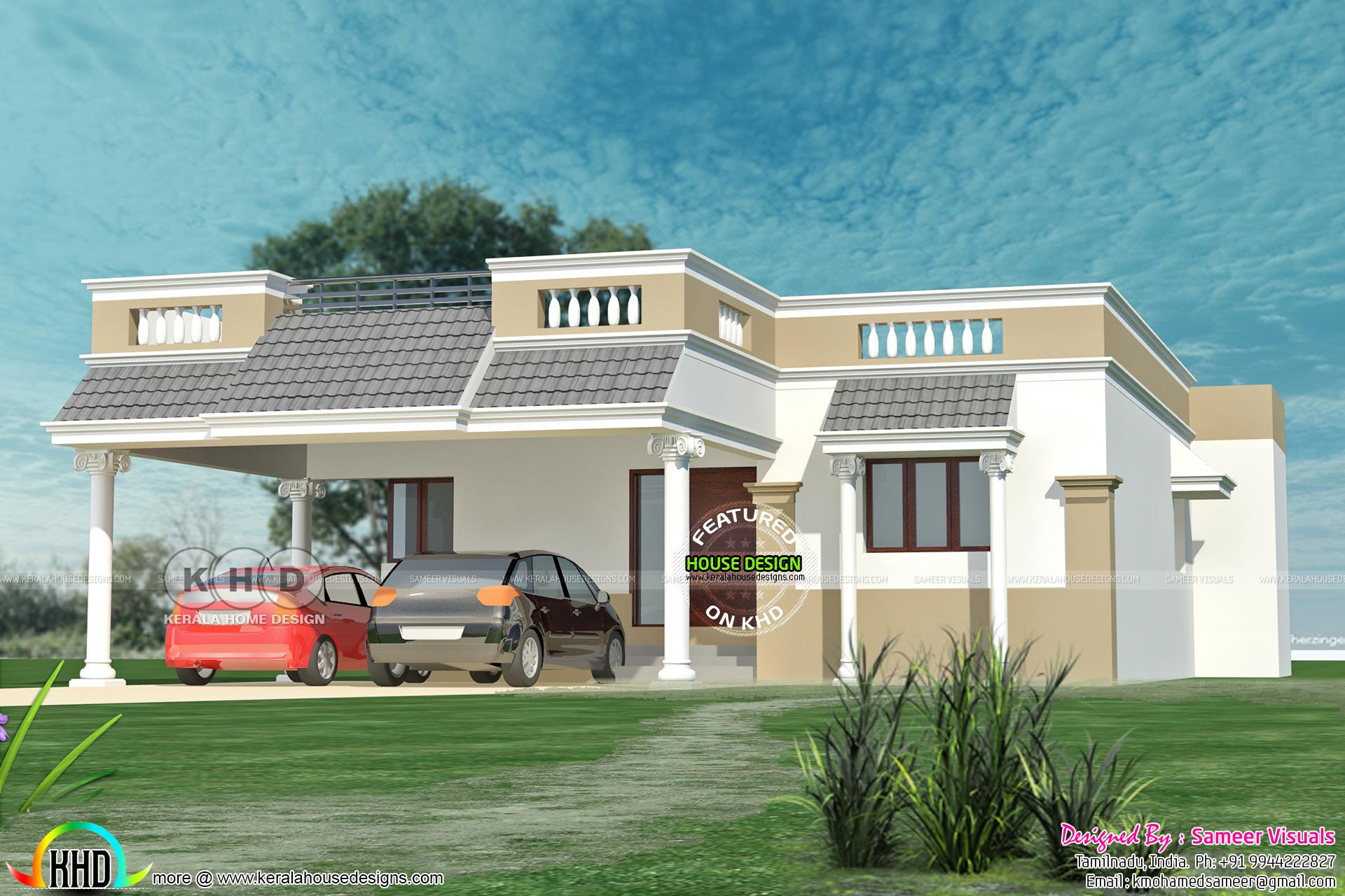 Tamilnadu Style 3 Bedroom Single Floor Home 1380 Sq Ft Kerala Home
