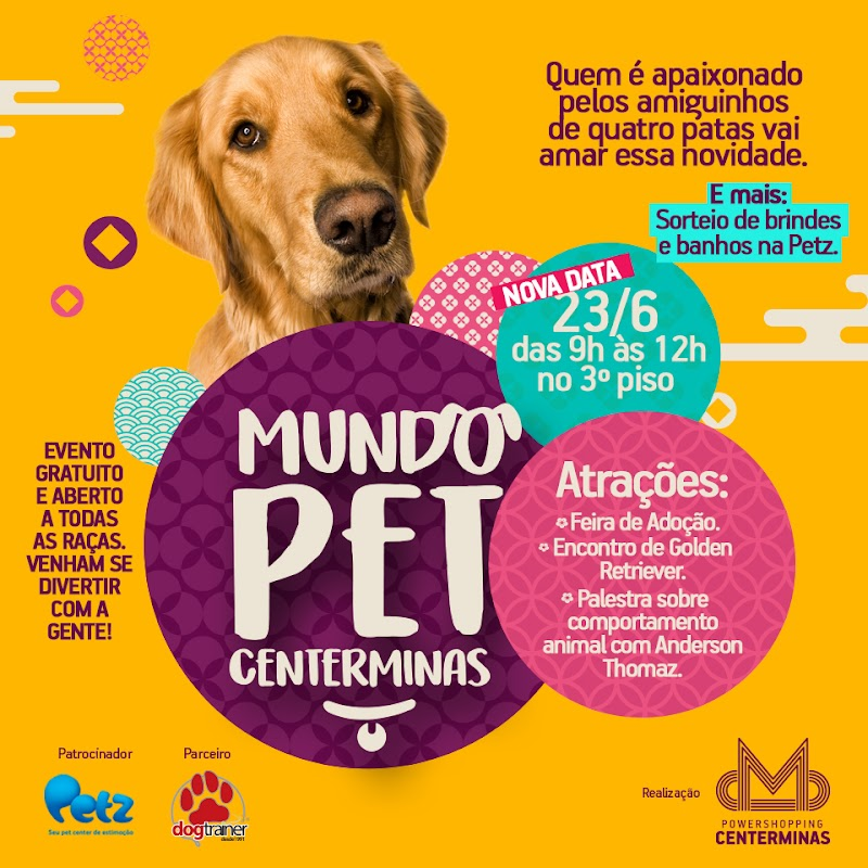 """Primeira edição do projeto """"Mundo Pet Centerminas"""" será no dia 23 de junho"""