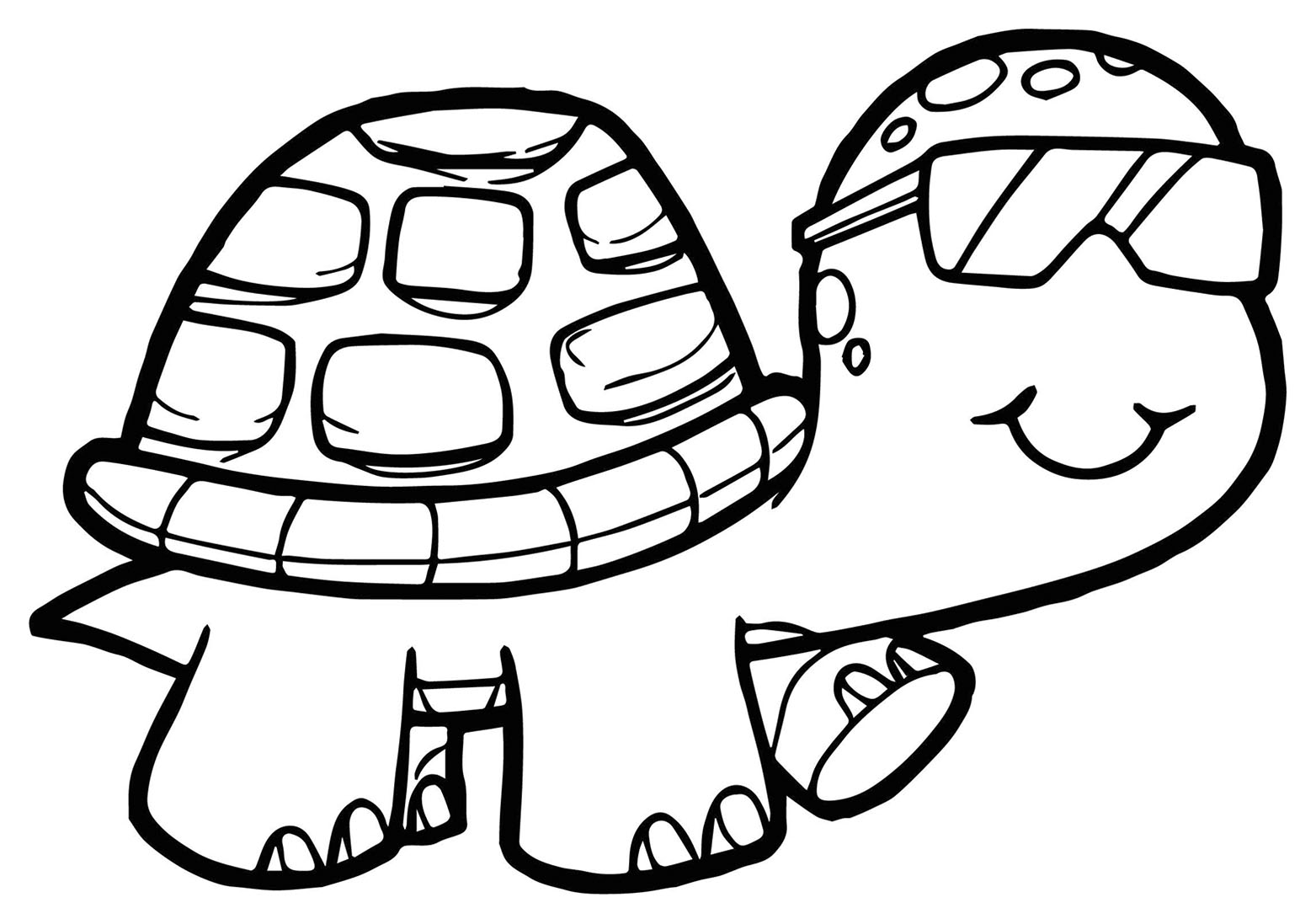 Tranh cho bé tô màu con rùa đeo kính