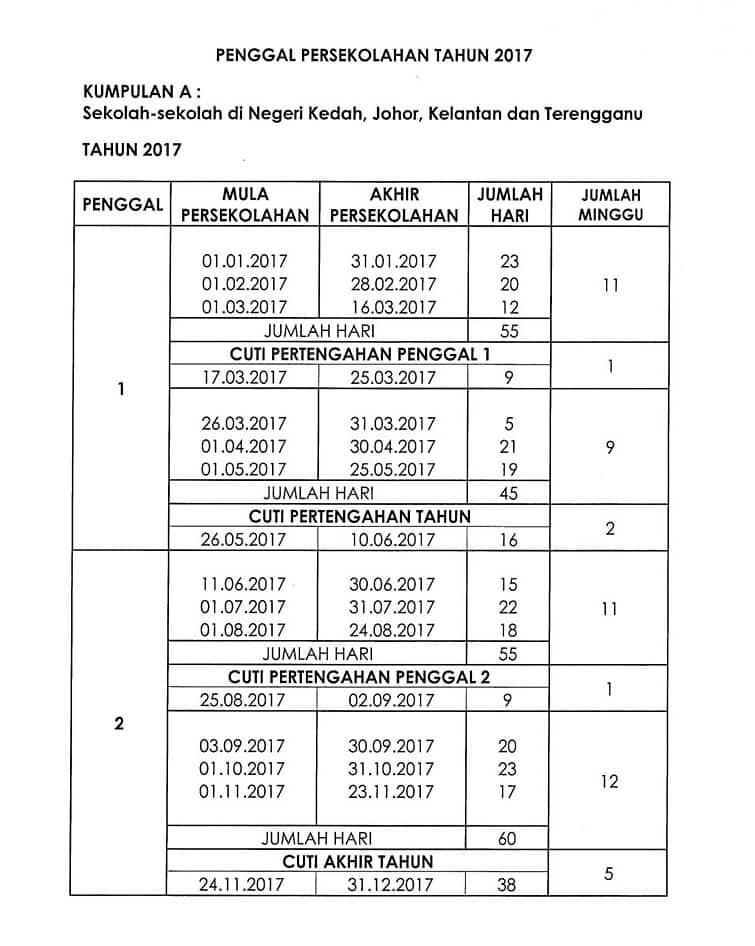 Jadual Persekolahan dan Cuti Sekolah Seluruh Malaysia 2017