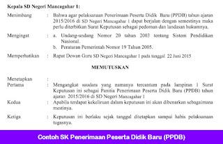 Contoh SK Penerimaan Peserta Didik Baru (PPDB)