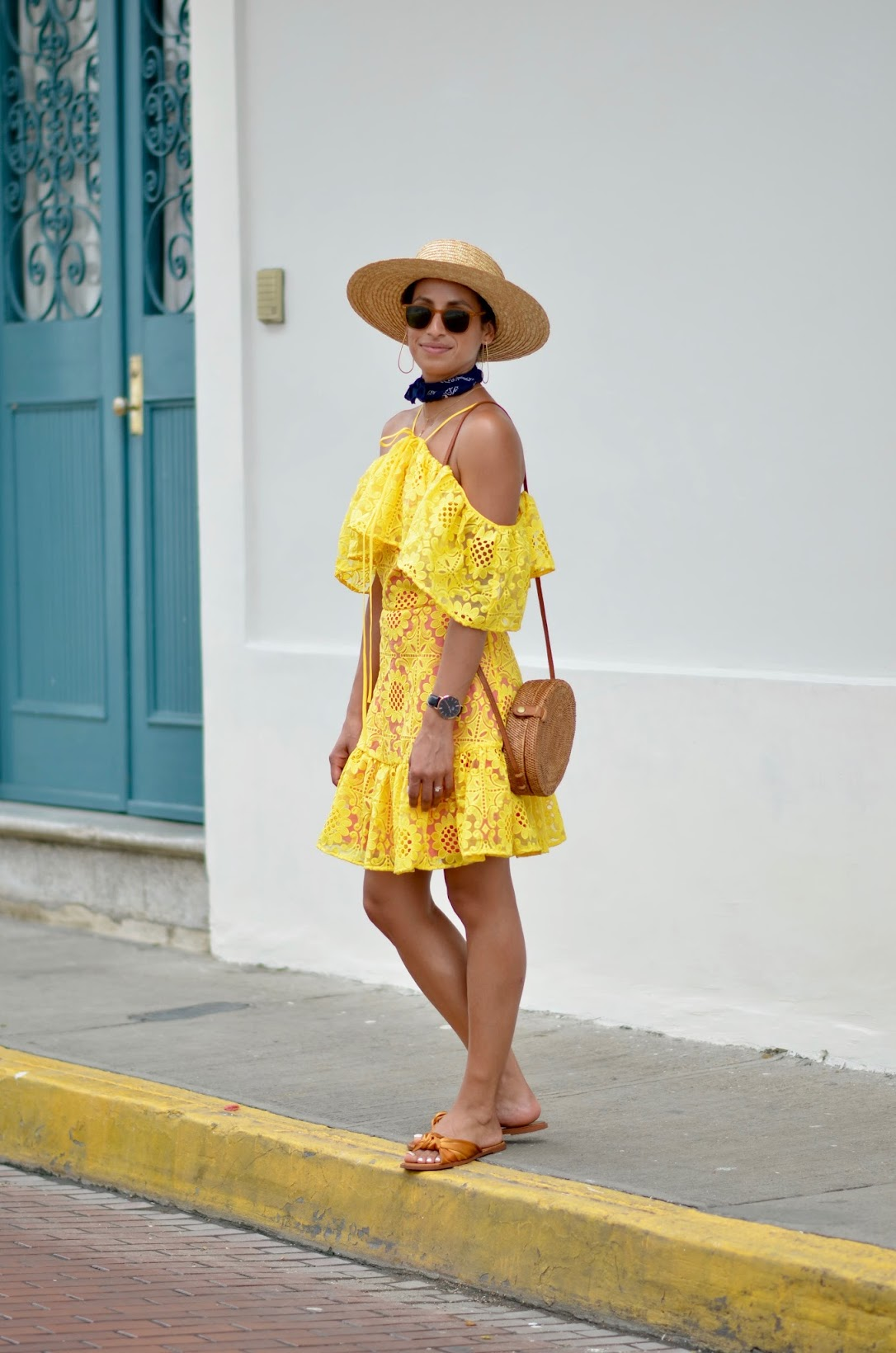asos, yellow off the shoulder ruffle dress, lace ruffle dress, straw wide brim fedora, Janessa Leone fedora, round basket bag, Panama city, what to wear in panama city,