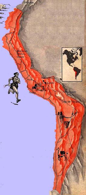 Dibujo del Mapa del Tawantinsuyo en color anaranjado