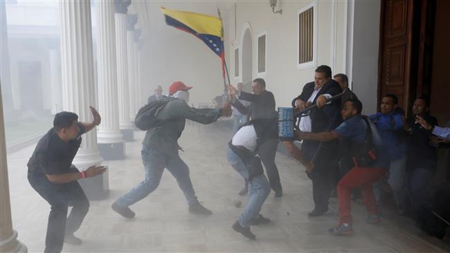 Mob attacks Venezuela's opposition-held parliament in capital Caracas