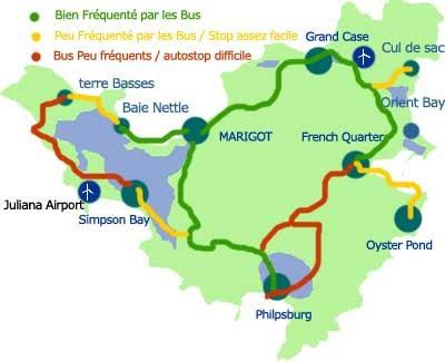 Carte circuit Bus transport en commun Saint Martin