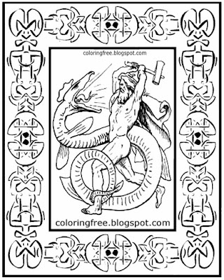 Norse clan of scary mystical idols coloring page Odin Viking god snake dragon Celtic artwork boarder