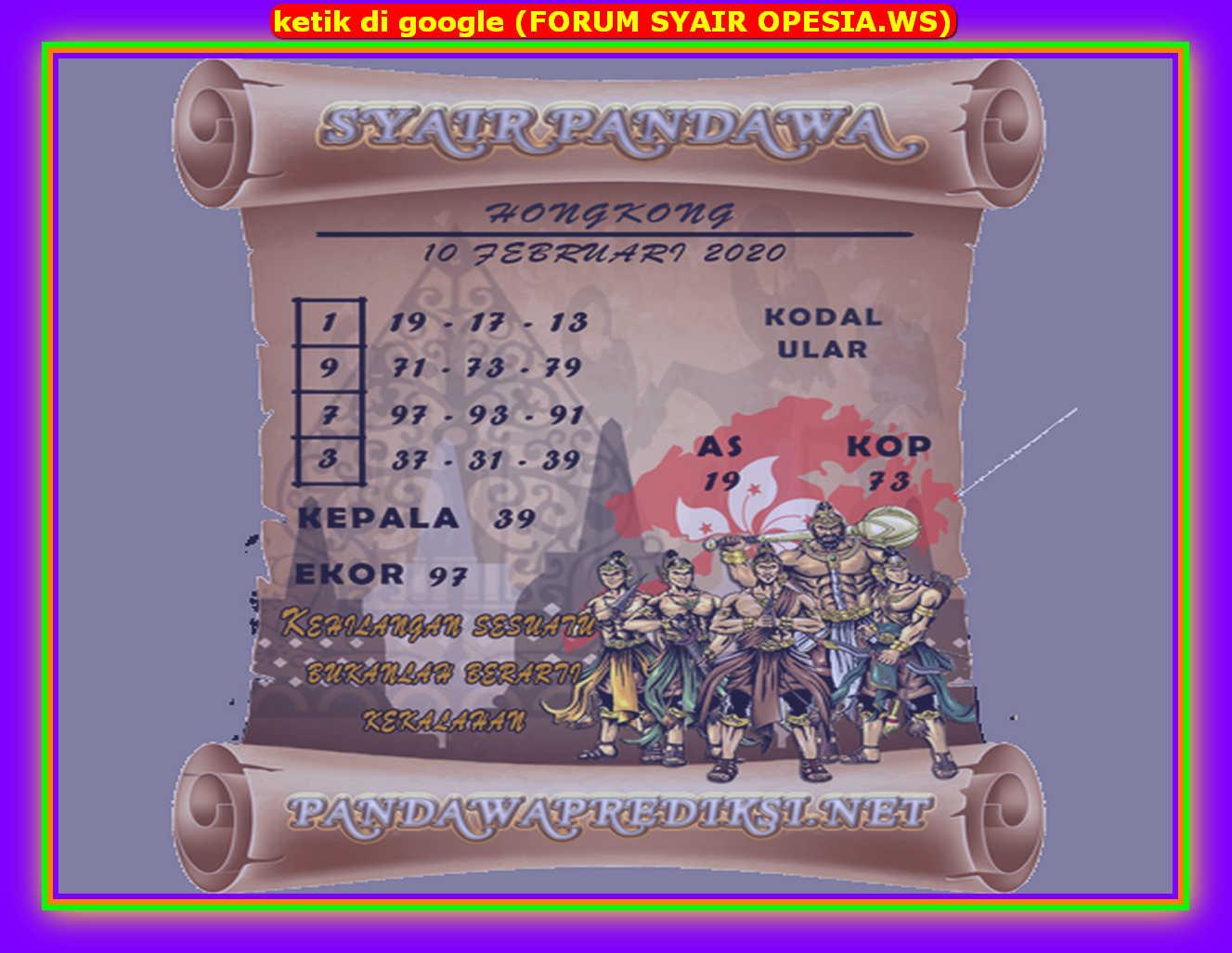 Kode syair Hongkong Selasa 11 Februari 2020 101
