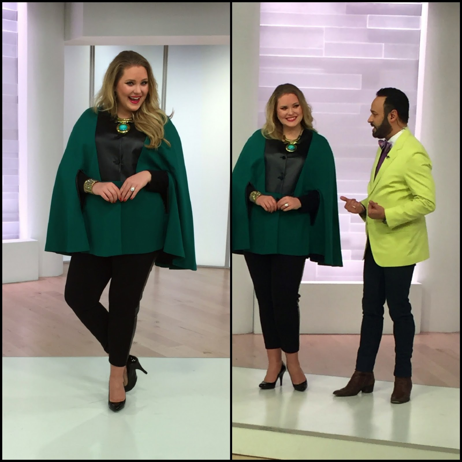 f5407a445292b Nick Verreos with models Ashley and Shawna in NV Nick Verreos Ponte and  Faux Leather Cape. Nick Verreos and EVINE Live ...