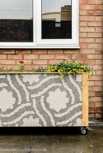 diy tile trough planter box with tiles
