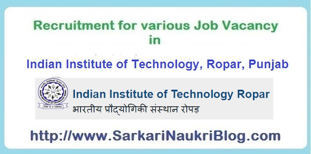 Sarkari Naukri vacancy recruitment IIT Ropar