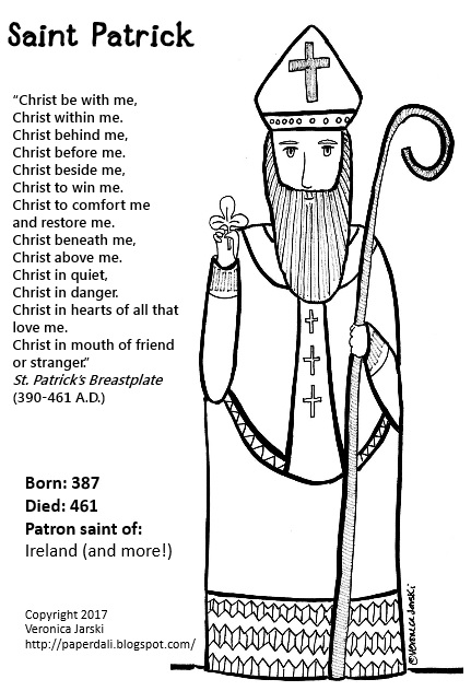 click to download full page printable - St Patrick Coloring Page Catholic