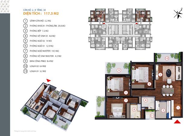 Căn hộ 01 - 10 tầng 30
