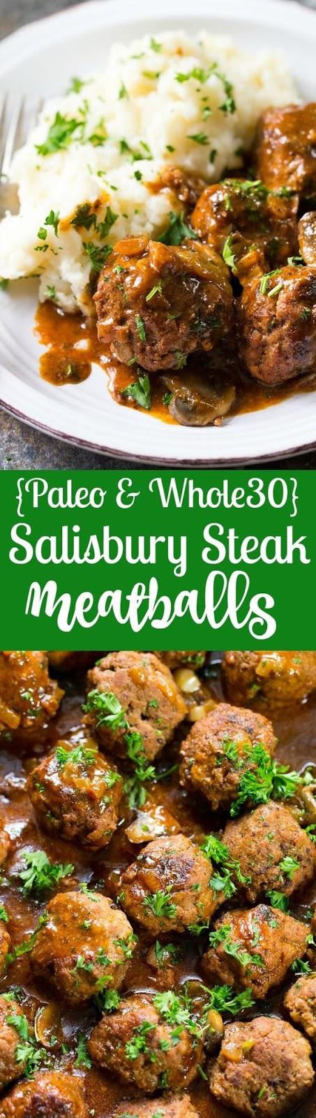 Paleo Salisbury Steak Meatballs {Whole30}