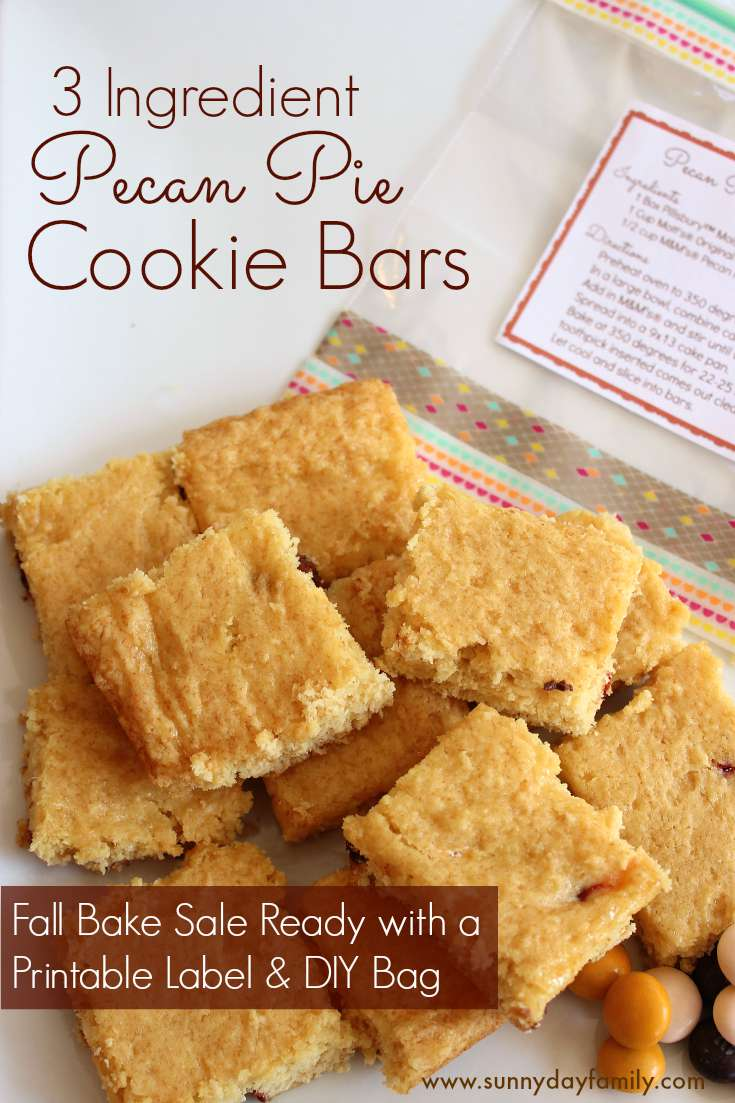 Pecan Pie Cookie Bars with only 3 ingredients - perfect Fall bake sale idea with DIY packaging and printable recipe labels!