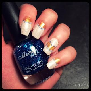 tutorial nail art french bianco e oro effetto 3d glitterato perfetto per eventi importanti