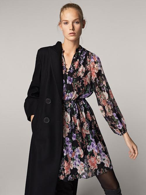 Vestido negro cruzado massimo dutti