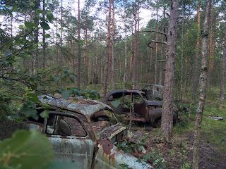 Rostiga bilar på bilkyrkogården i Ryd