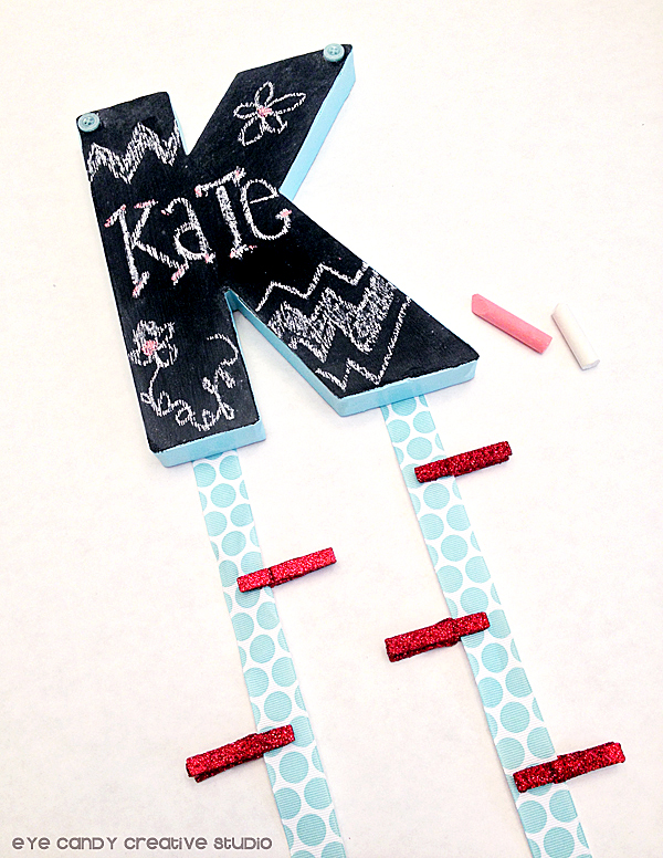 back to school locker craft, chalkboard initial, buttons, chalkboard craft