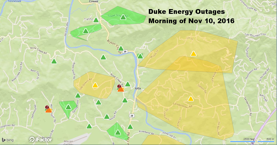 This map shows the northern sector of the outages