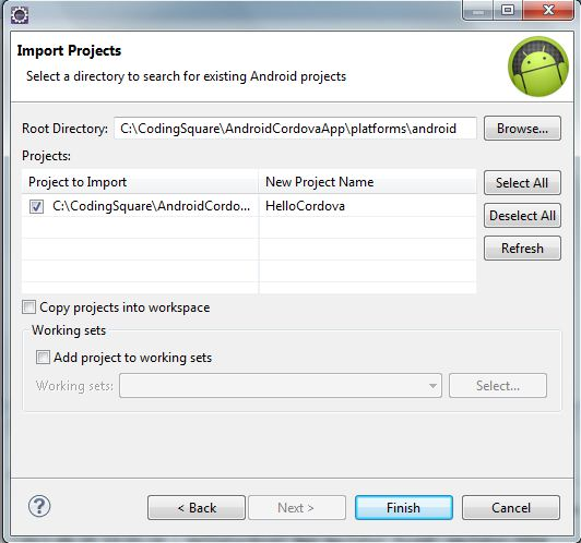Coding Square: Creating a cordova 3 android project on eclipse