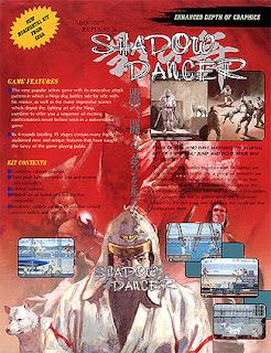 Flyer publicitario de Shadow Dancer, segunda parte en arcade de Shinobi en 1989