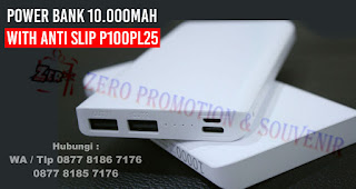 Barang Promosi Power Bank 10.000mAh with anti slip, Power Bank Slim with anti slip surface 10000 mAh P100PL25