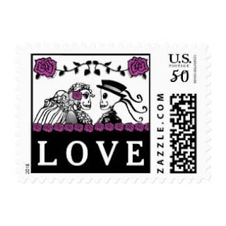 Halloween Wedding Skeletons Custom Postage LOVE Purple Roses Horizontal Small Postage