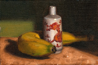 Oil painting of a miniature white and red porcelain vase next to a banana.