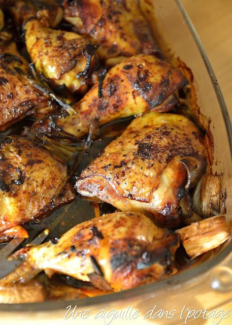 Poulet rôti, sauce huître et oignons de printemps