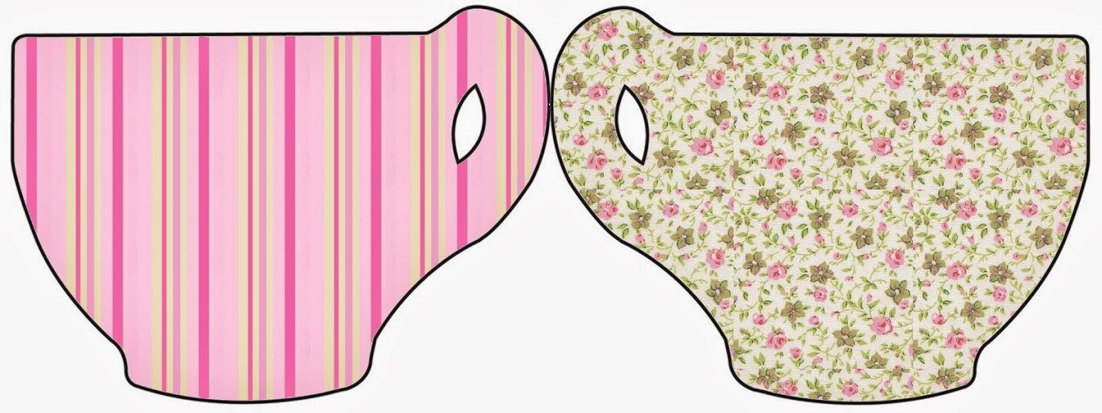 Tarjeta con forma de Taza de Shabby Chic Rosa y Amarillo.