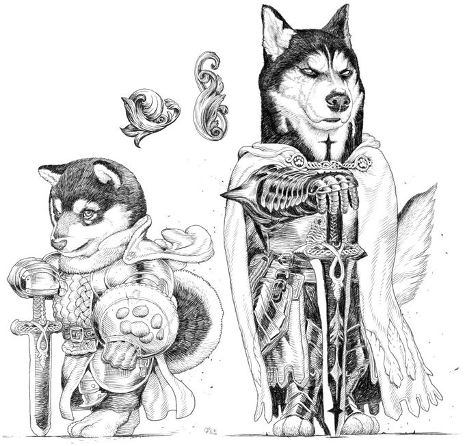 01-Siberian-husky-knight-PankichiM-Mofumofu-Animals-www-designstack-co