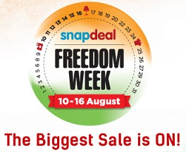 Snapdeal Freedom Week Sale: Azadi Ke Fayde Uthao from 10th to 16th August'15