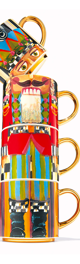 MACKENZIE-CHILDS NUTCRACKER MUG TOWER SET OF 4