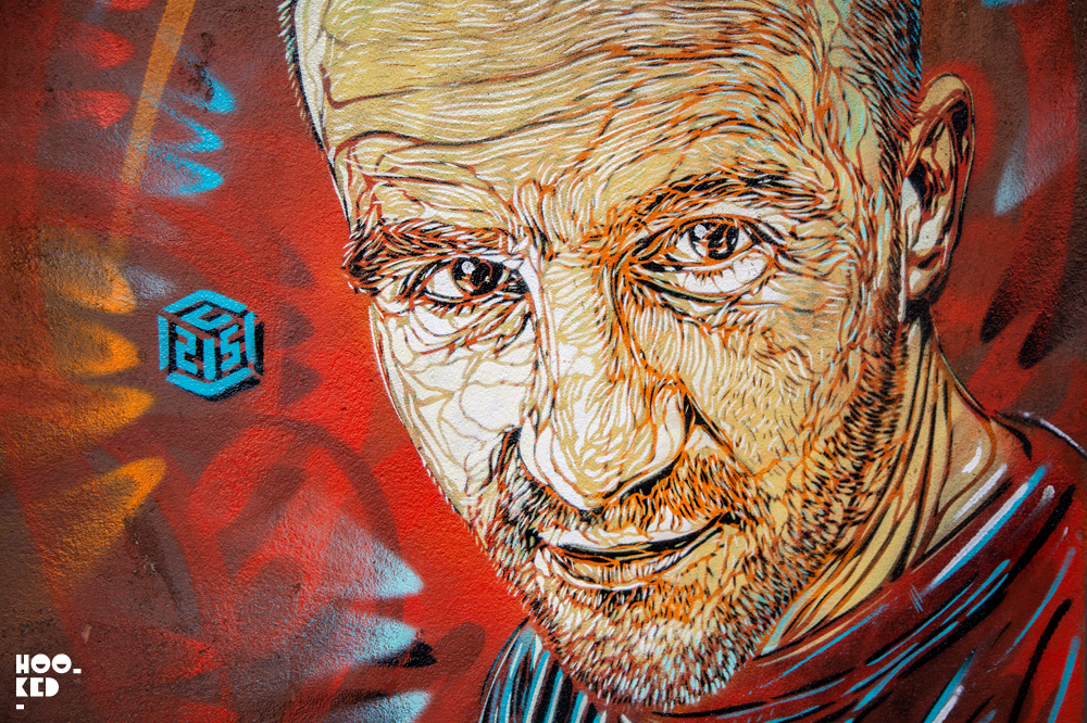 Street Art Portrait by French street artist C215 painted in Ostend, Belgium