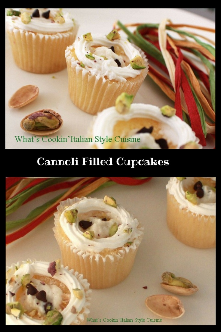 Italian Cannoli Filled Cupcakes a decadent filling with ricotta cheese, chocolate and pistachio