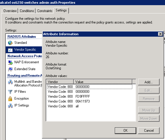 Alcatel os6250 switches and radius authentication (for