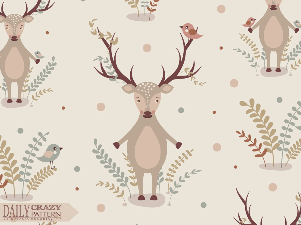 "Cute art print with adorable deer for ""Daily Crazy Pattern"" project"