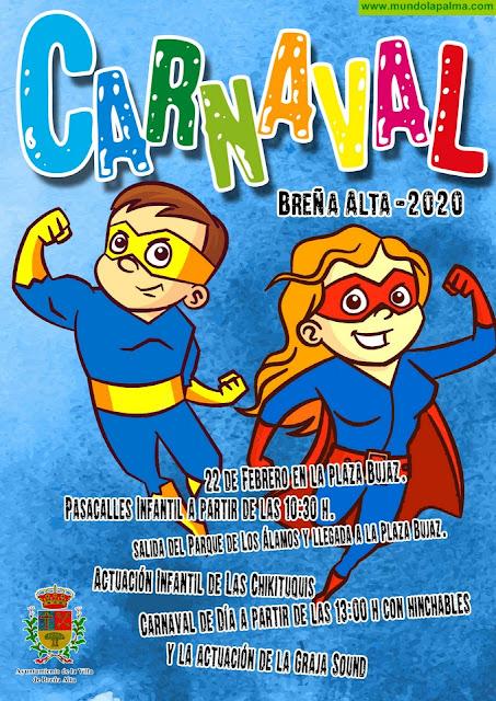 Pasacalles y actuaciones en directo en el Carnaval de Día de Breña Alta