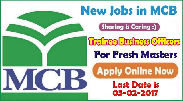Trainee Business Officers Jobs in MCB Bank
