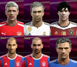 Faces: Wenger, Ancelotti, Joachim Low, Guardiola, Mourinho, Pes 2013